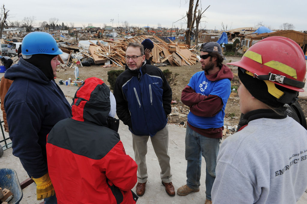 meeting volunteers around illinois tornado damage