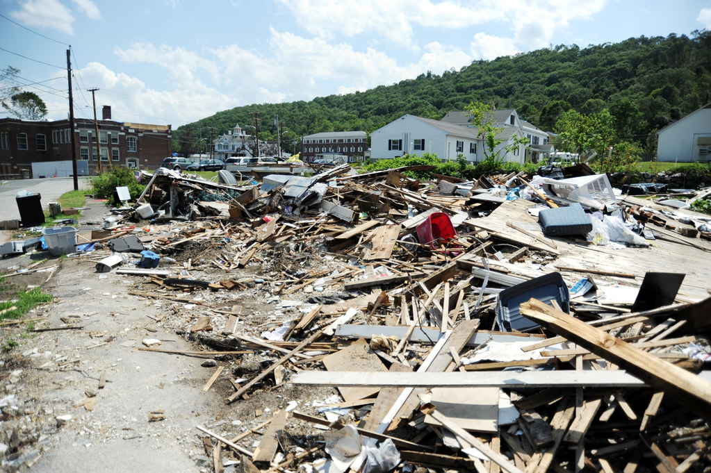 Monson, Mass., July 7, 2011 -- The debris that was left behind by the June 1 tornado that hit the town of Monson and western Massachusetts. Alberto Pillot/FEMA